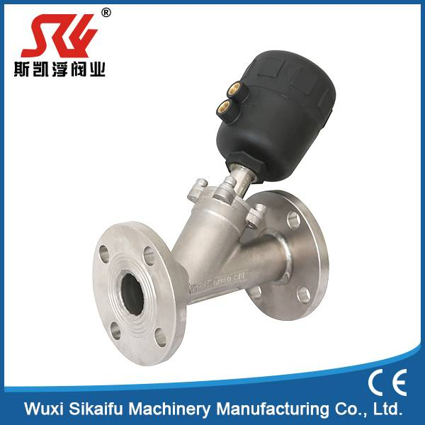Stainless Steel 304 Flanged Y Type Angle Seat Valve For Dyeing Machine