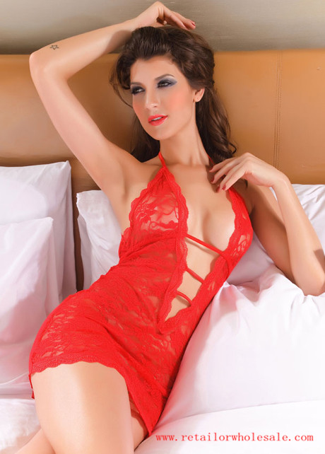 Sell Sexy Backless Halter Pattern Red Lace Babydolls For Lady