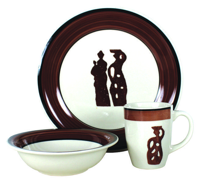 12pcs handpainted stoneware dinnerware set