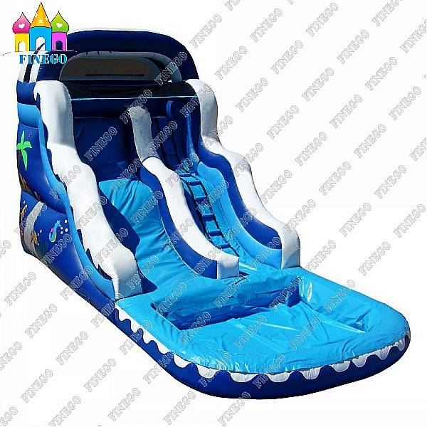 Hot 0.55mm PVC Best Quality Inflatable Wave Water Slide with Pool for Kids