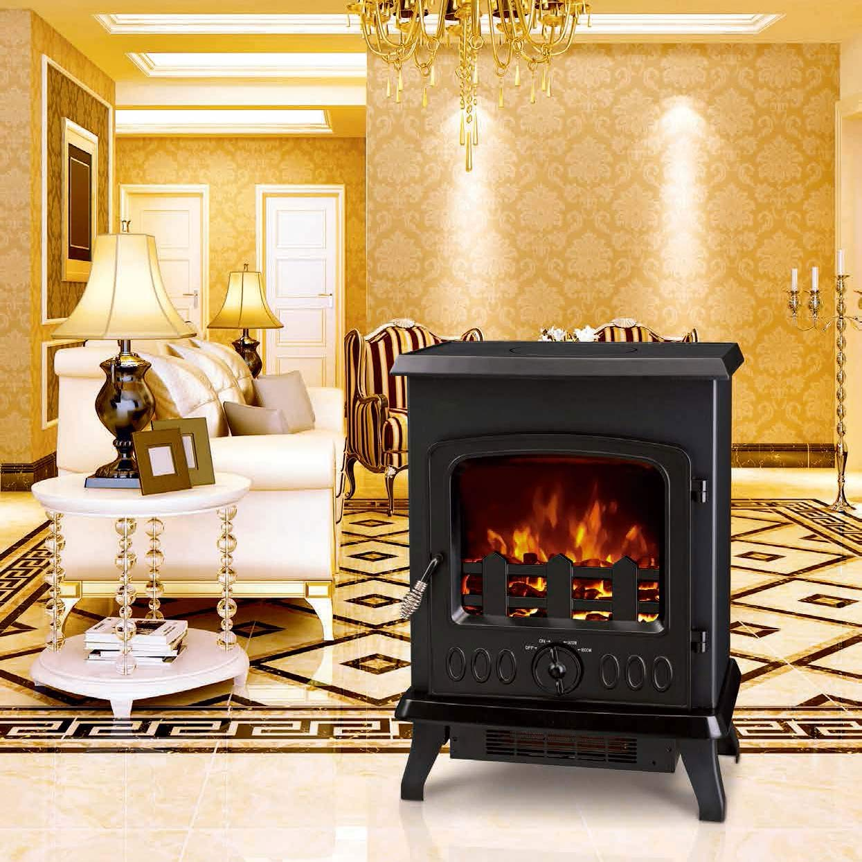 electric fireplace heater log LED burning flame effect antique electric stove ND-188 cheap room heat