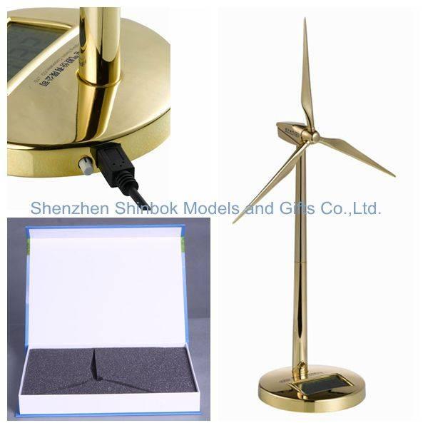 Golden Metal Wind Generator Model with Digital Clock