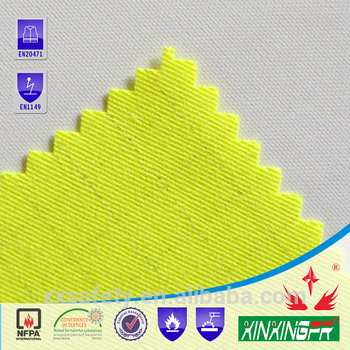 100% cotton flame retardant high visible yellow twill fabric