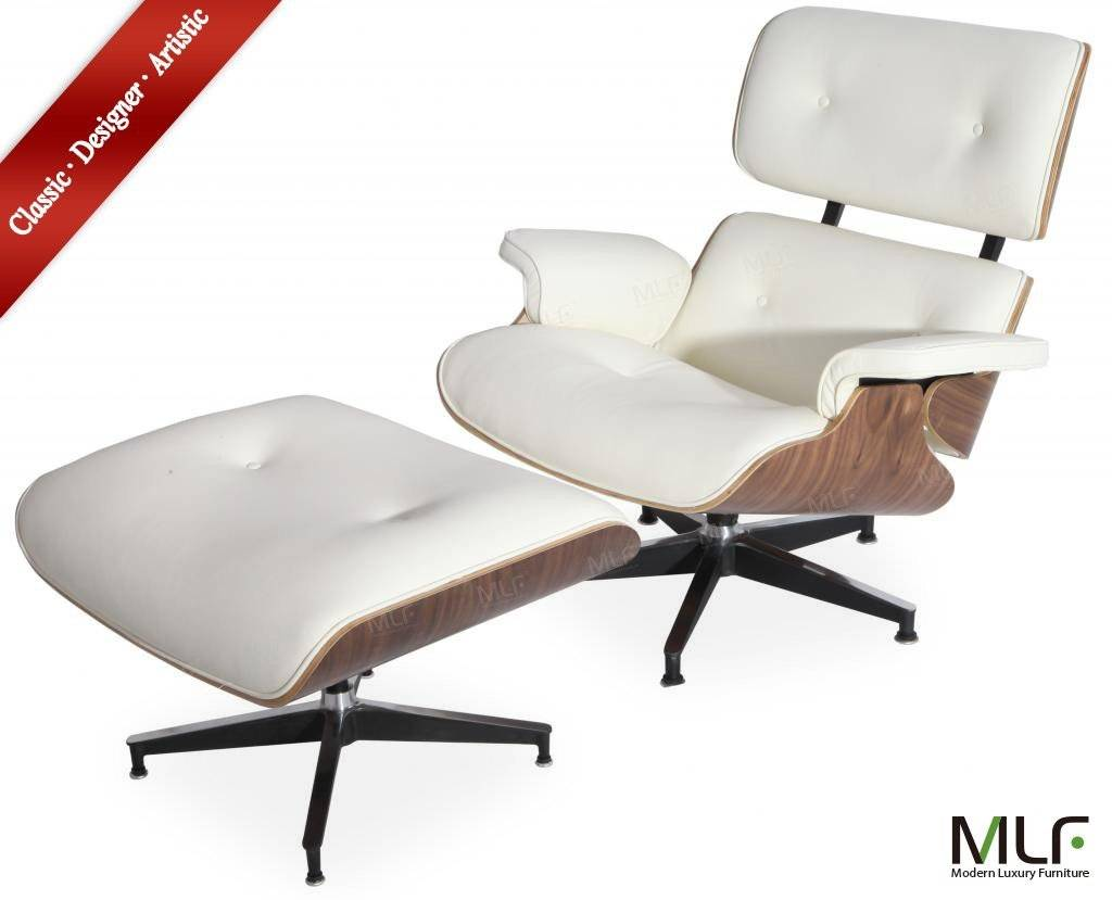 White MLF Eames Lounge Chair & Ottoman (5 Colors). High-elastic Soft Foam Cushions, Great Resilience