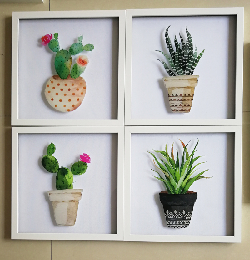 Wall Hanging Glass Cactus Paint Art Frame For Home Deco and Gift