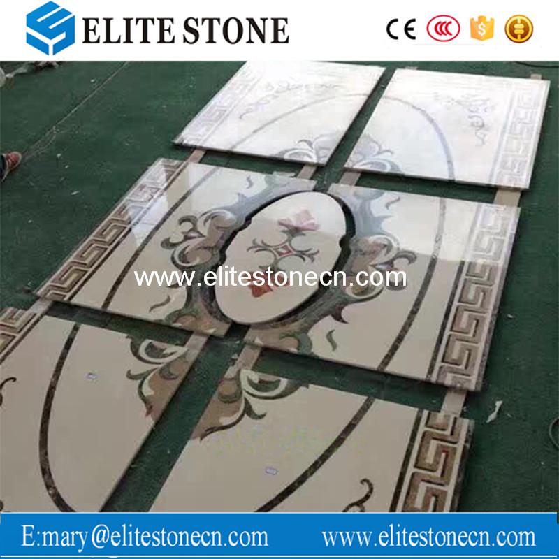 Flower pattern design stone waterjet marble for floor tile