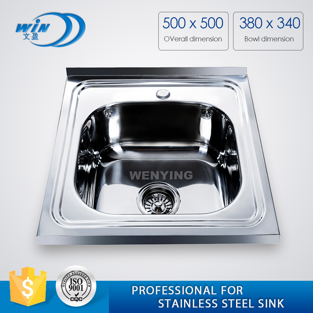 WY-5050 One Bowl Polish Above Counter Silvery Stainless Steel Wash Basin Kitchen Sink