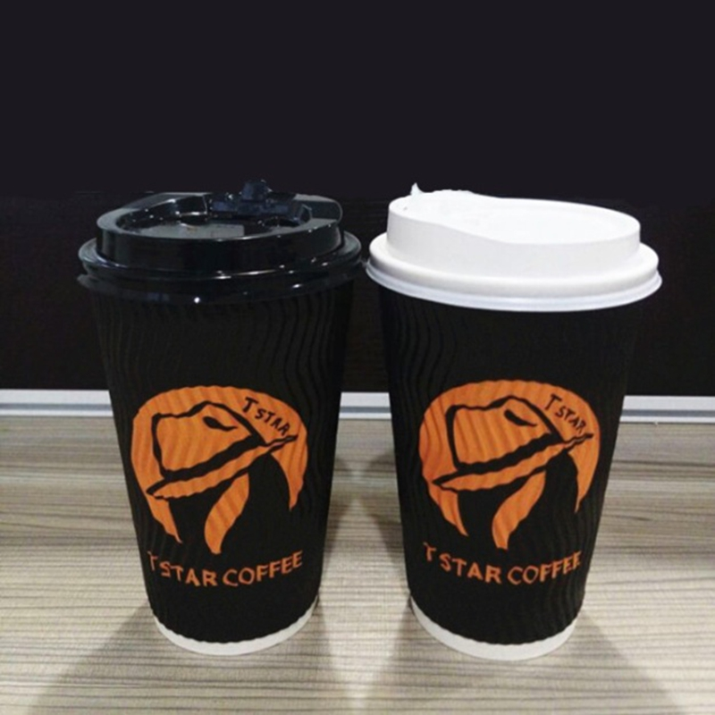 10oz custom logo printed ripple wall hot coffee paper cup