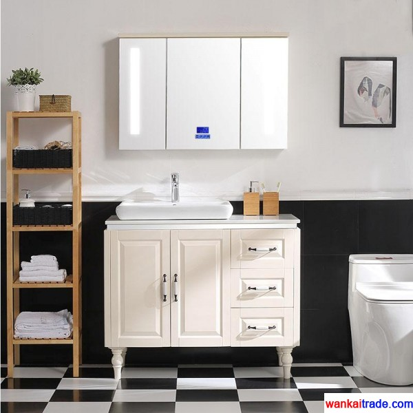 New style multilayer solid wood bathroom vanity with bluetooth music player and lamp mirror