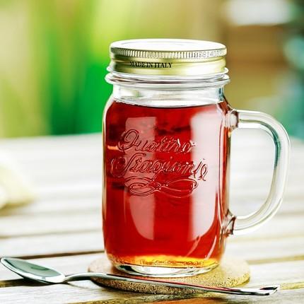 embossed logo ice cold drinking mason jars 480ml