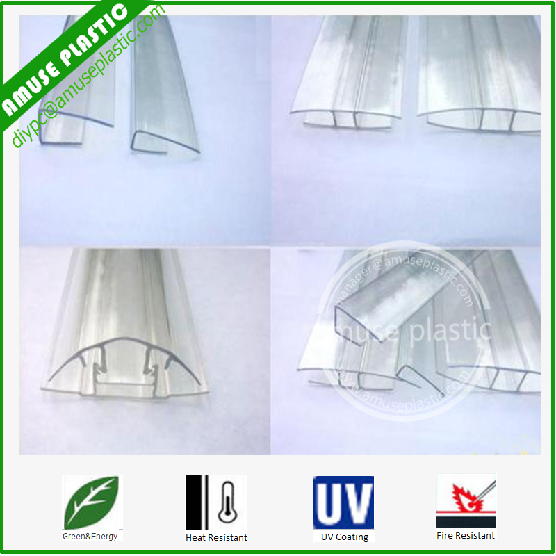 Clear Polycarbonate Profile PC H U Policarbonato Sheets Connecters