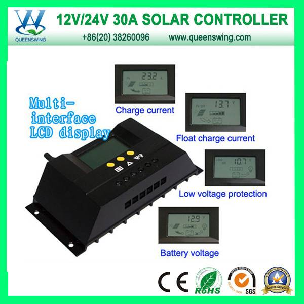 30A 12V/24V Auto PWM Solar Charge Controller (QWP-1430RSL)