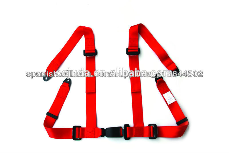 red 4-point racing car open car seat belt