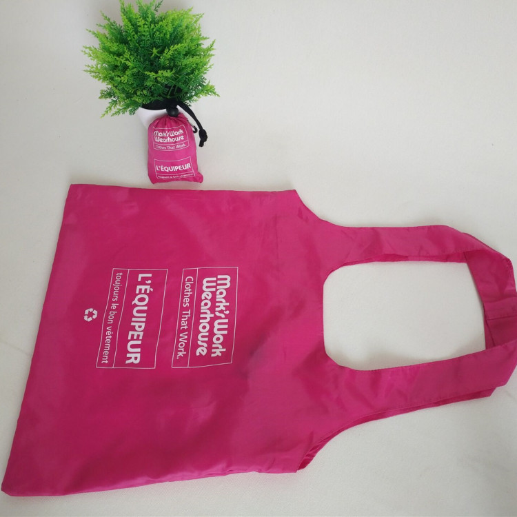 Foldable polyester keychain shopping bag polyester T-shirt pouch shopping bag