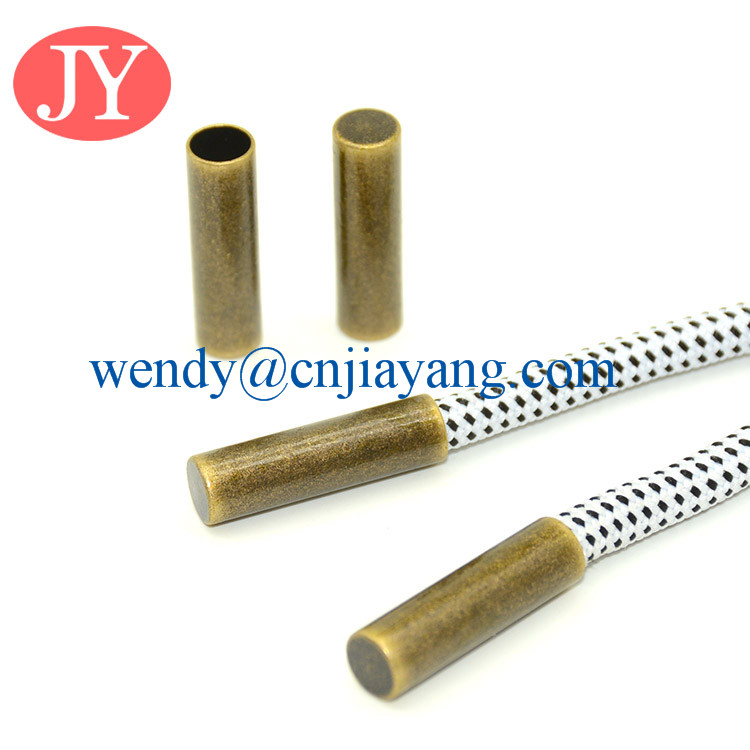 anti brass flat cylinder shoelace tip for cord