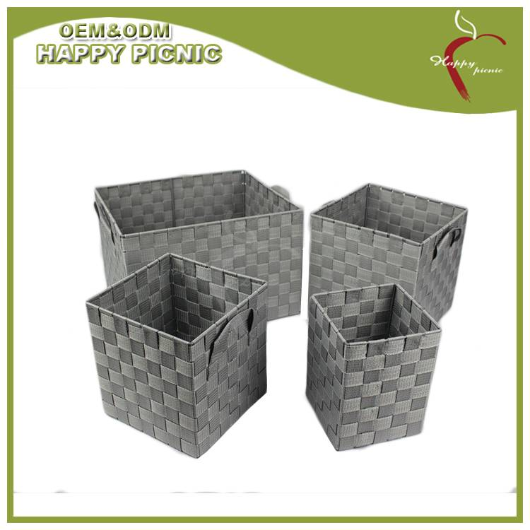Metal Frame Grey Color Nylon Woven Storage Hamper