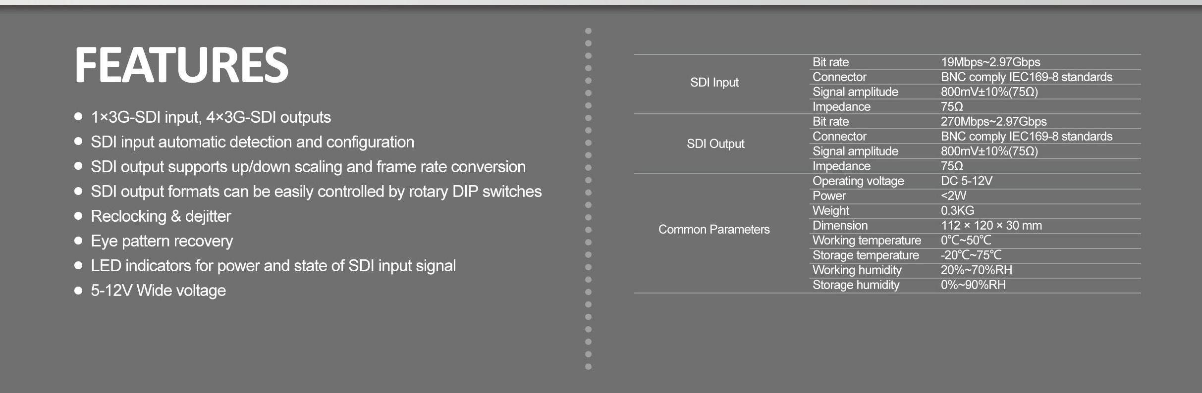 1: 4 3G Sdi Distribution Amplifier Splitter