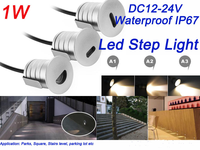 Mini 1W Led Step Light Footlight Recessed Inground Wall Light Stair Landscape Lighting