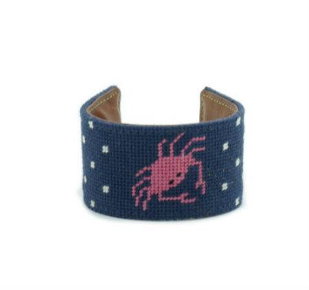 Crab navy blue needlepoint embroidery bracelet by handmade