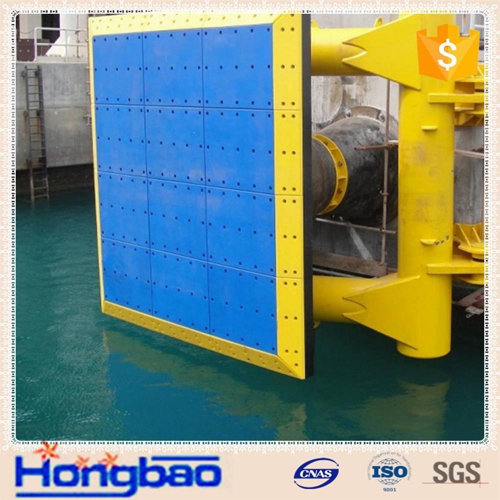 Flat uhmwpe pad for marine fender, hdpe facing pad