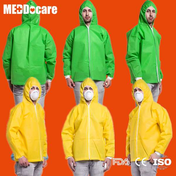 PP SMS PPE Non Woven Hooded Jacket Disposable Costume Laboratory Lab Coat