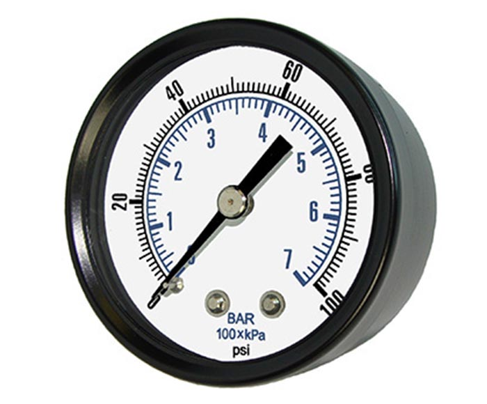 common pressure gauge-Black steel case and bezel, back connection