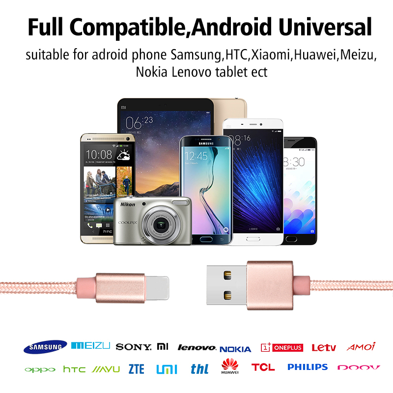 High Quality 2.4A Fast Charging Nylon Barided 2 in 1 Data Cable