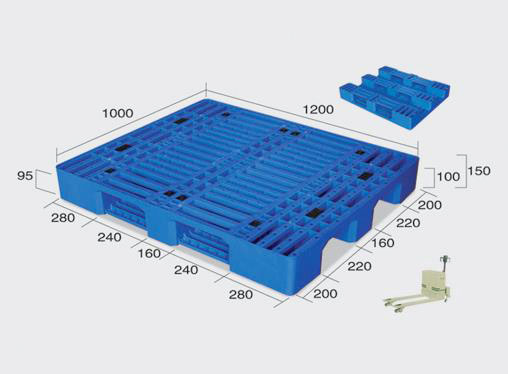 Beverage Plastic Pallets Manufacturers Single Side with 8 Steel Bars reinforced
