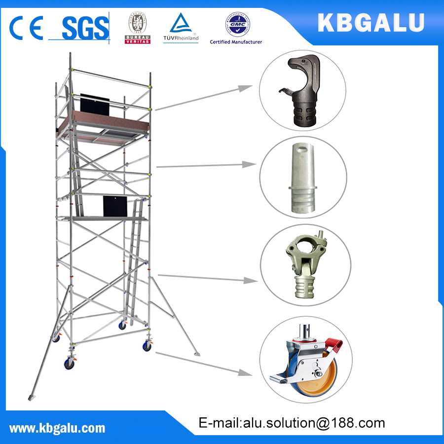 double width aluminum scaffold tower with 5.0m standing height