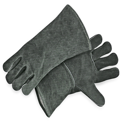 Gray Leather Welding Work Gloves