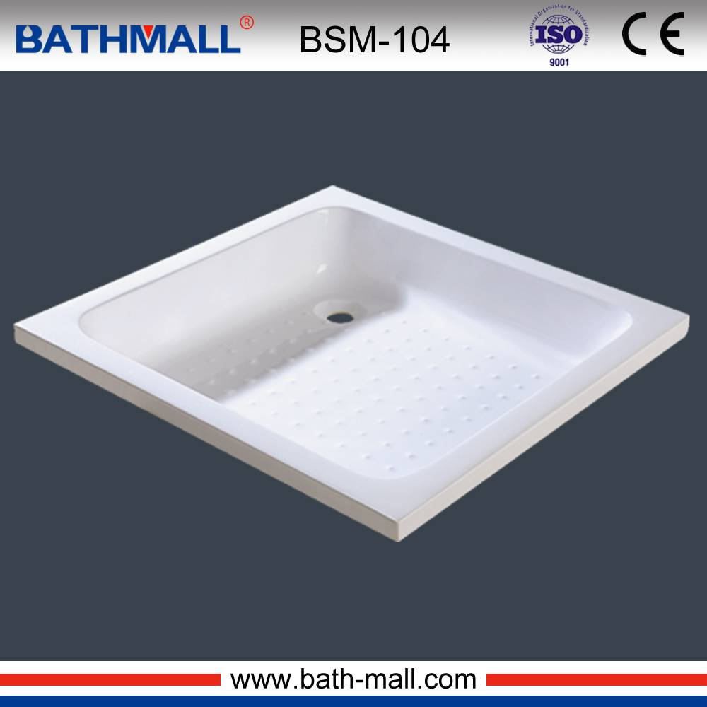 Square white plastic shower tray with anti slip