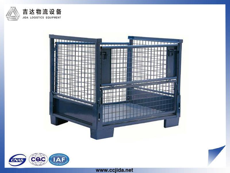 Collapsible warehouse rigid mental stackable cage pallet