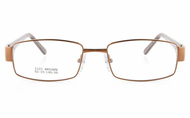 Brown 1121 Full Rim Square Metal-Stainless Steel/ZYL Glasses