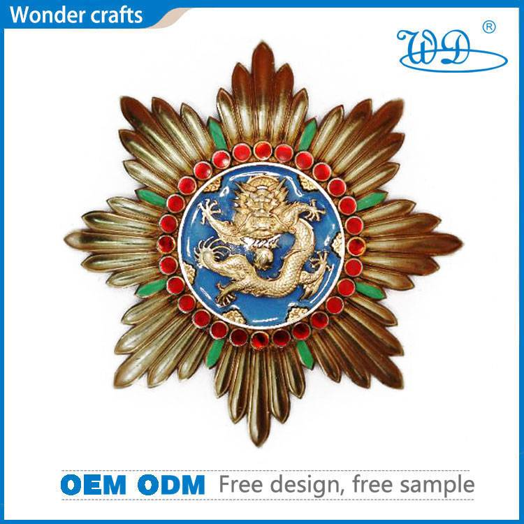 Punchout octagon edged pearl gold plating iron nickel copper material shiny diamante dragon medals