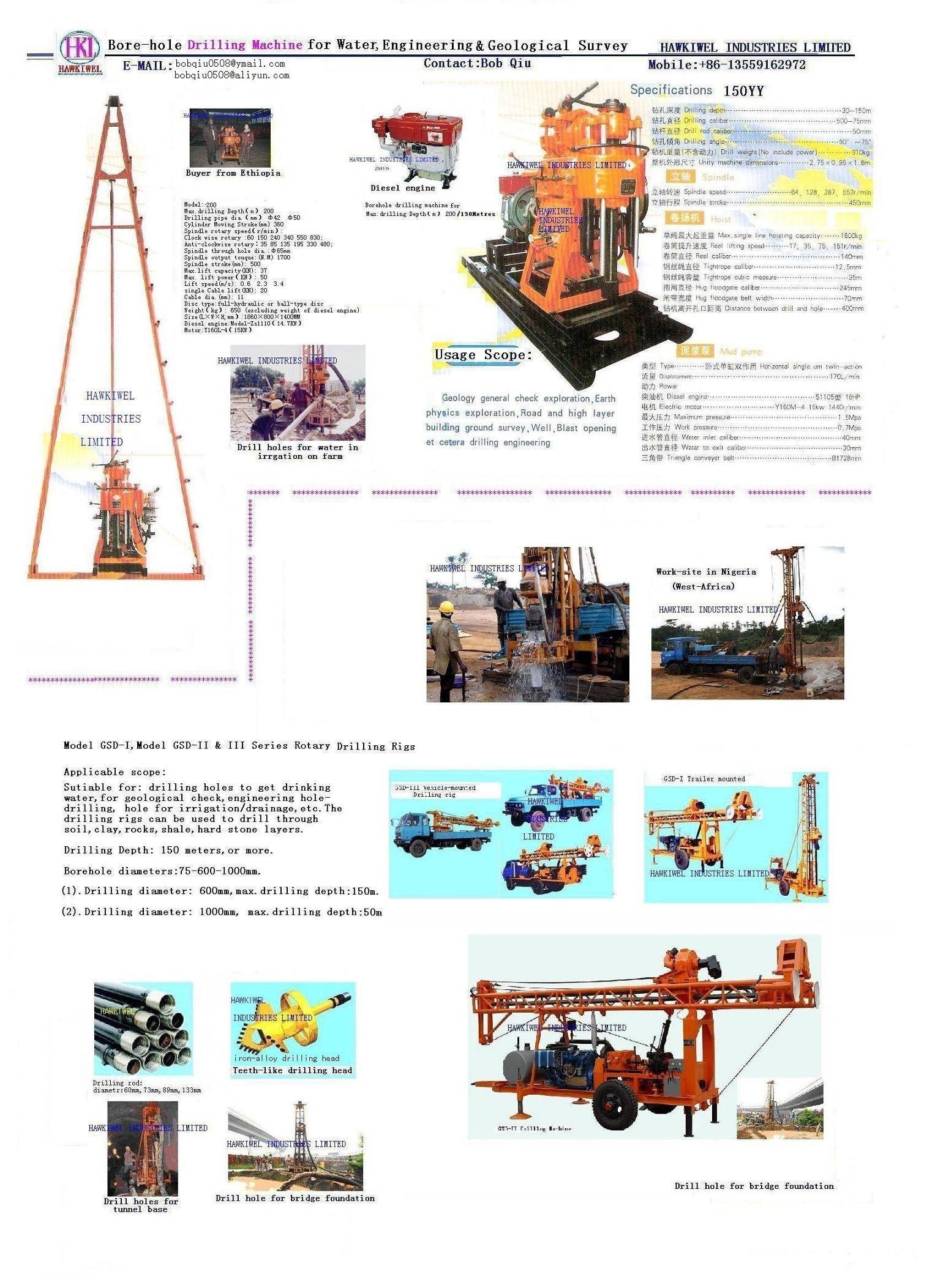 borehole drilling machine for drink water