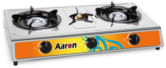 3 burners stainless steel gas stove