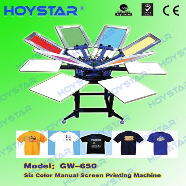 Manual 6 color t-shirt screen printing machine
