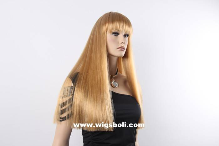Long silky straight synthetic sexy blonde wigs with bangs for fashion women