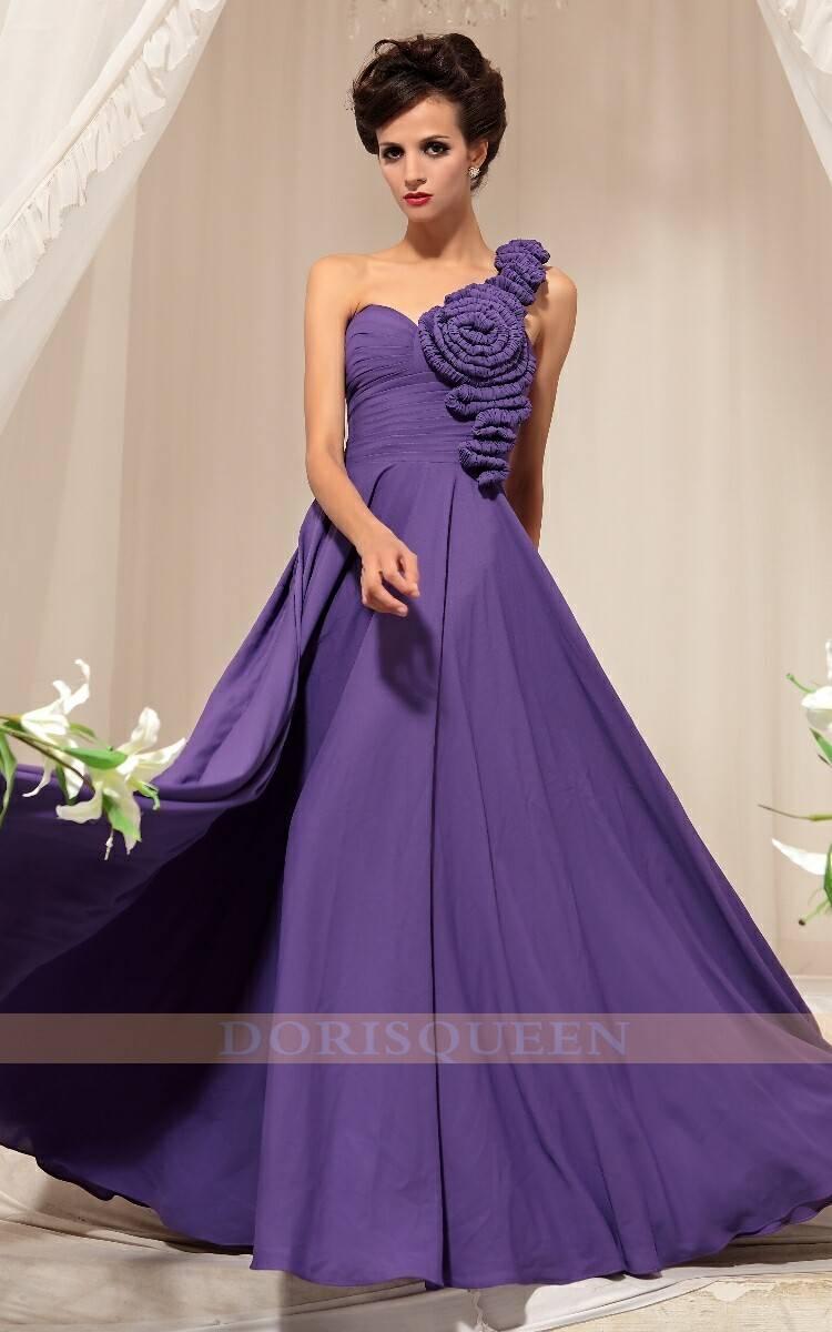 DORISQUEEN big ruffle flower purple open back prom dresses evening 30745