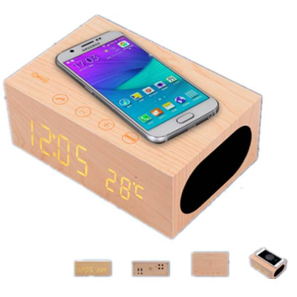 Alarm LED Wood Clock Mobile Phone Chargers