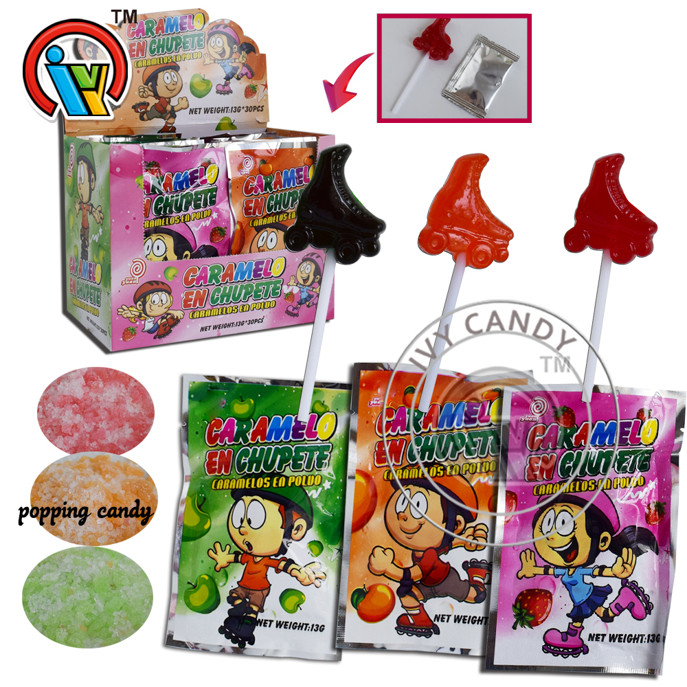 New Ice Skates Lollipops with Popping Candy