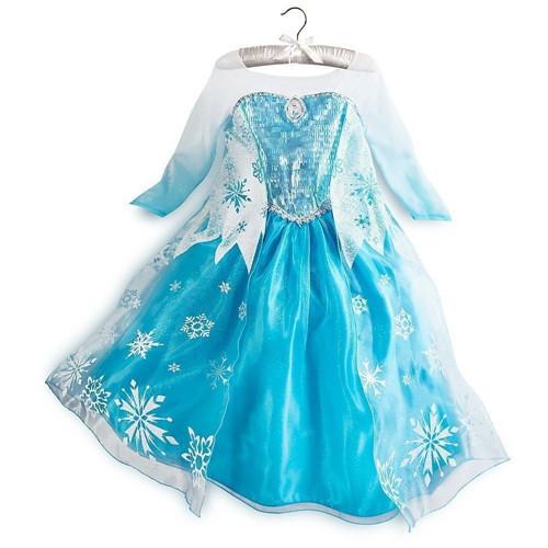 Hot Baby Girl Dress Elsa vestido blue long sleeve princess dress Kids part clothes Costumes Baby gir