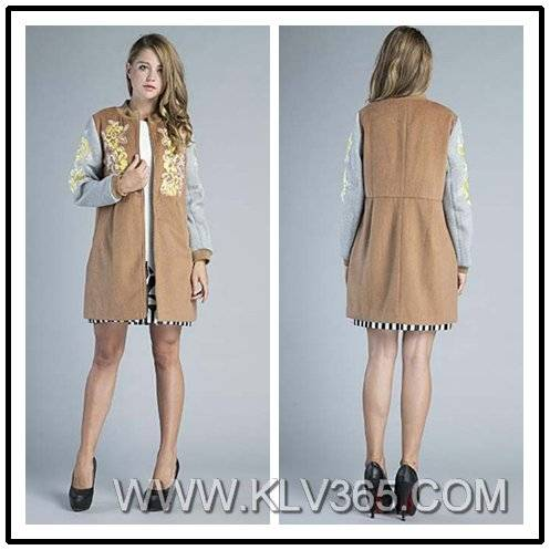 Western Style Fashion Women Embroidered Slim Coat for Winter