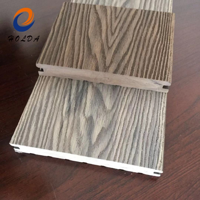 Factory Direct Wood Grain Texture Brown Weather Resistant Composite Decking Deck WPC Decking