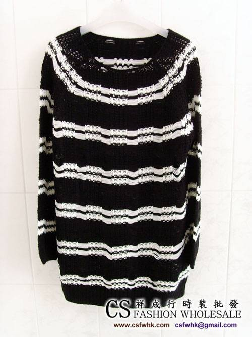 Ladies Striped Sweater 6298