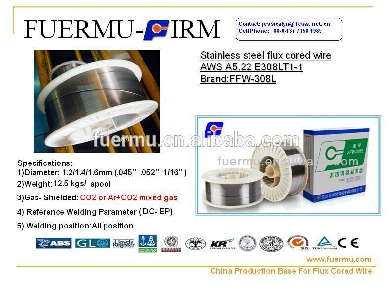 AWS 5.22 E308LT1-1 a rutile type flux cored wire for low carbon 18%Cr-8%Ni Stainelss Steel