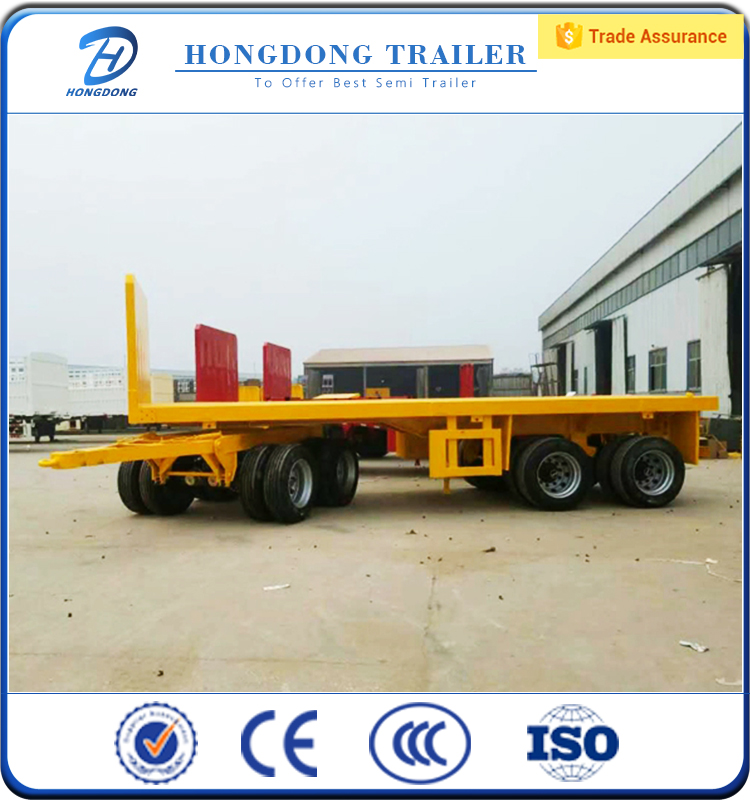 China Manufacturer 3 Axle 20 Ft 40 Ft Container Flatbed Trucks Trailers