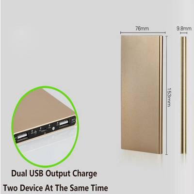 2016 New Ultra-thin Metal Case 8000mAh Polymer Battery Charger Dual USB Power Bank for Smartphone