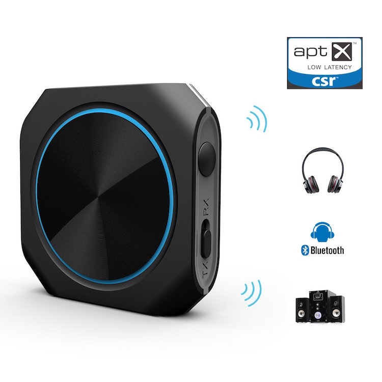 Bluetooth 4.1 Transmitter and Receiver Aptx Low latency Wireless Audio Adapter with 3.5mm Stereo