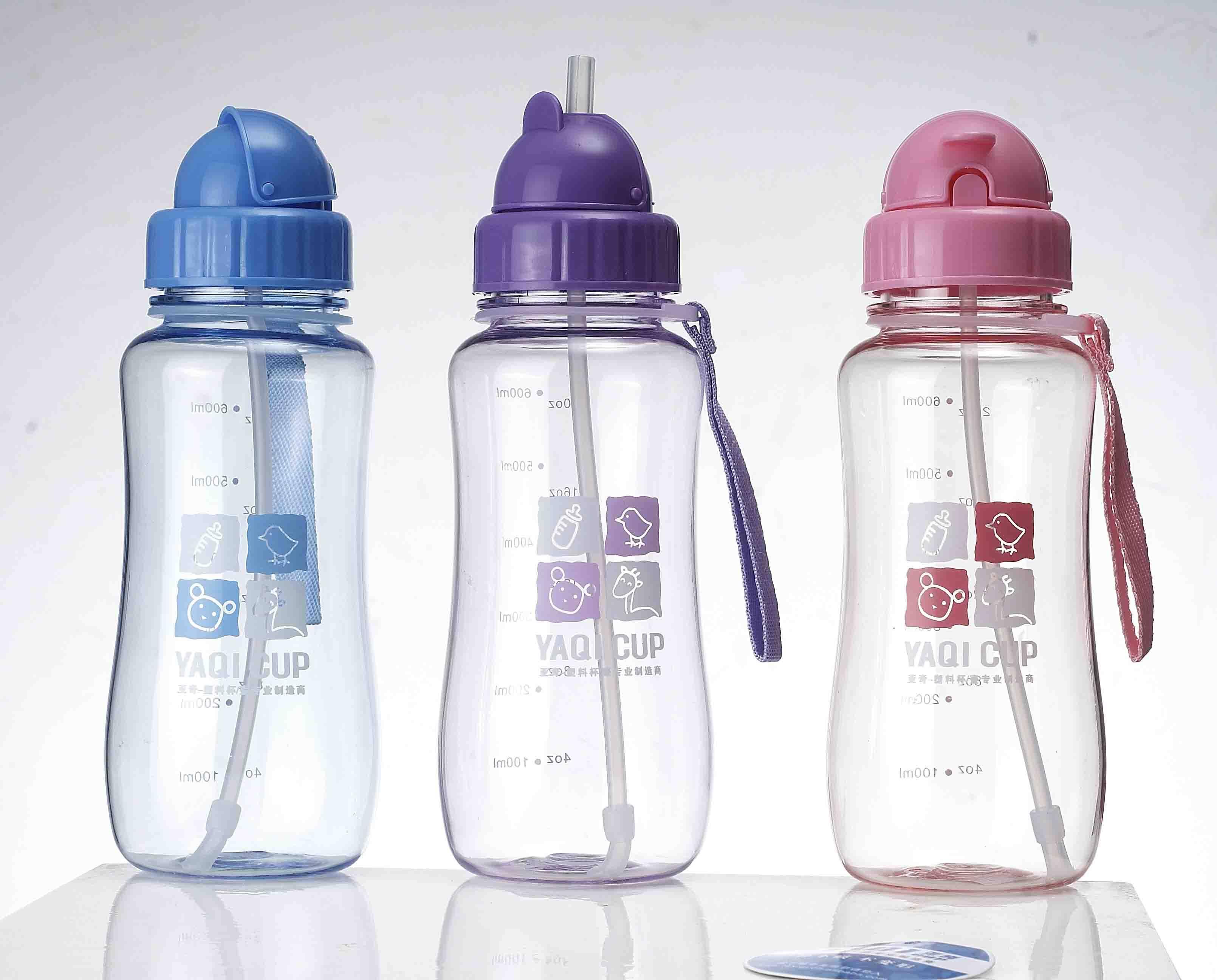 plastic kids water bottle with straw/kids sport bottle/drink bottle